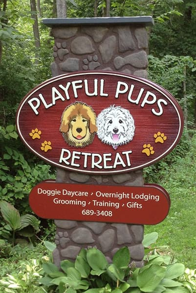 Playful Pups Retreat front entrance sign
